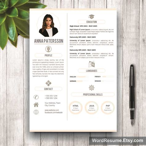 Resume 4 Pages by 4 Pages Resume Template Instant Digital Quot