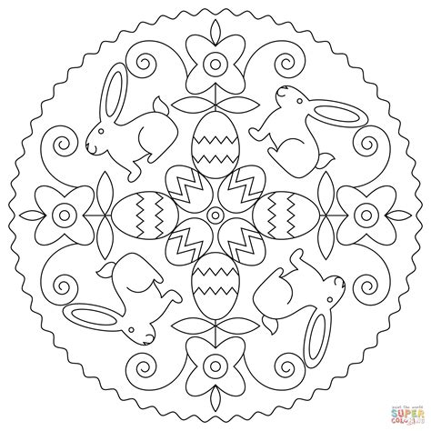 coloring pages of easter bunnies and eggs easter mandala with bunny and eggs coloring page free