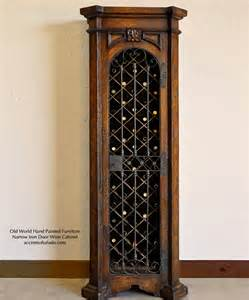 Old world dining room furniture narrow iron door cabinet