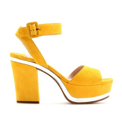 yellow platform sandals miu miu suede platform sandals in yellow lyst
