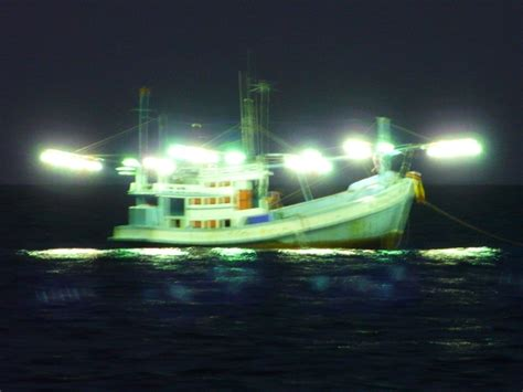 squid boat at night - Squid Fishing At Night From A Boat