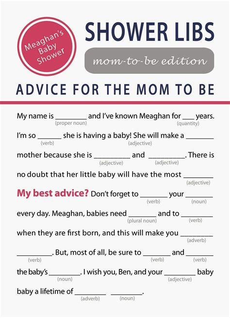 Mad Libs Baby Shower Printable by Printable Baby Shower For Charming Printable