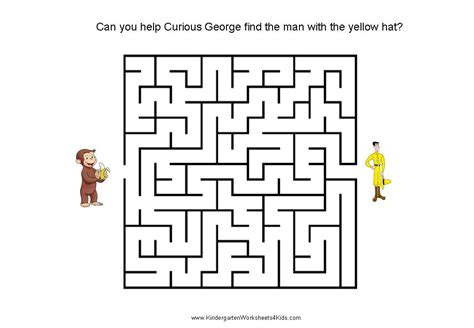 printable number mazes kindergarten curious george mazes for kids