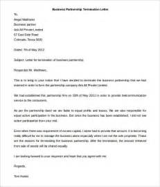 Firm Dissolution Letter To Clients 9 Partnership Termination Letter Templates Free Sle Exle Format Free