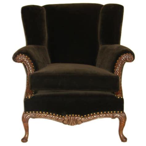vintage velvet chair antique carved walnut brown velvet wing chair at 1stdibs