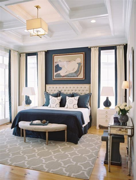 beautiful bedrooms  coffered ceilings navy blue