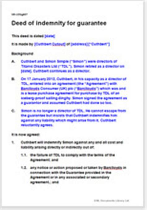 deed  indemnity  guarantor  contract debt