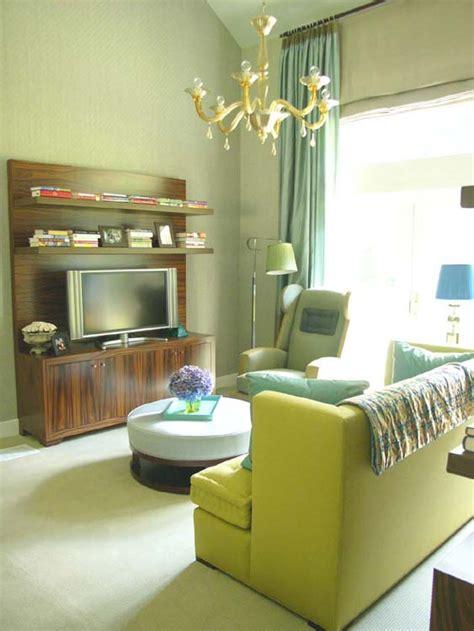 dekorasi ruang tamu moden tema hijau green living room
