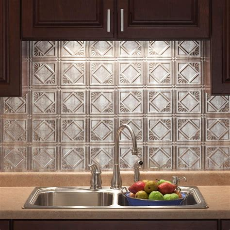 18 In X 24 In Traditional 4 Pvc Decorative Backsplash Home Depot Kitchen Backsplash Tile