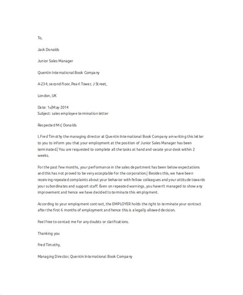 employee termination letter format pdf termination letter for poor performance employee