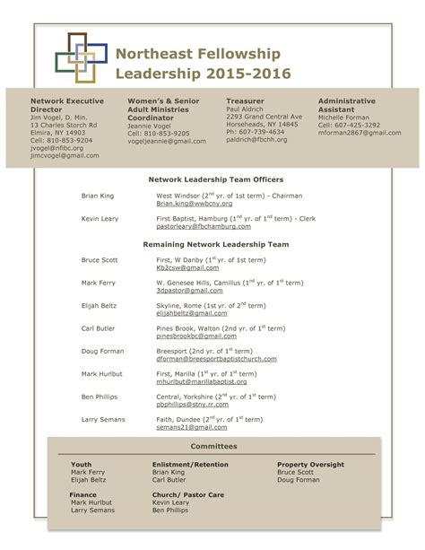 Church Leadership Outline by Leadership Northeast Fellowship A Network Of Independent Baptist Churches