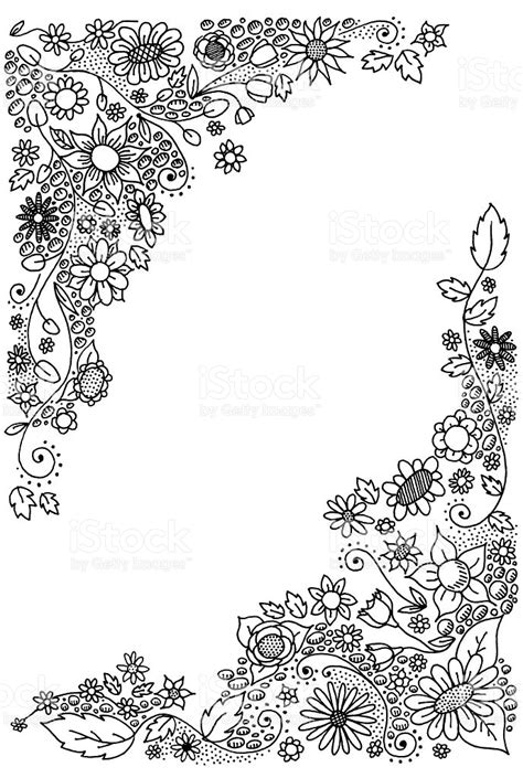 Lukisan Doodle A4 Colour Tidak Background Frame doodle flower corners stock vector more images of color image 95782797 istock
