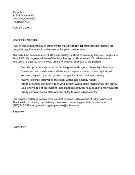 chemistry cover letter extraction chemist cover letter sles and templates