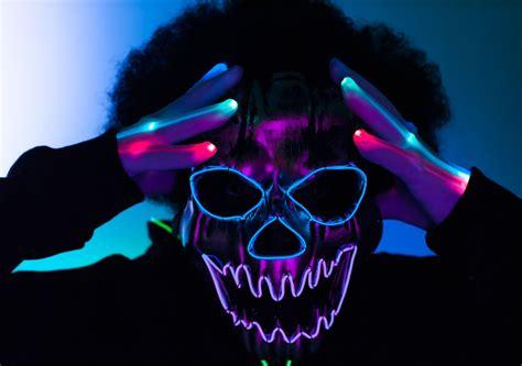 light up face mask halloween light up led mask el wire mask led gloves