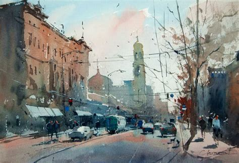 Painting And Cityscapes watercolor cityscape by eugen chisnicean ego alterego