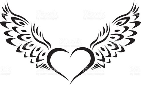 heart with wings tribal tattoo stock vector art amp more