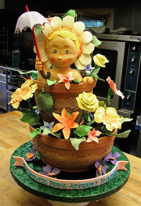 3d Cake by Step By Step 3d Cake Sculpting Baby In A Flower Pot