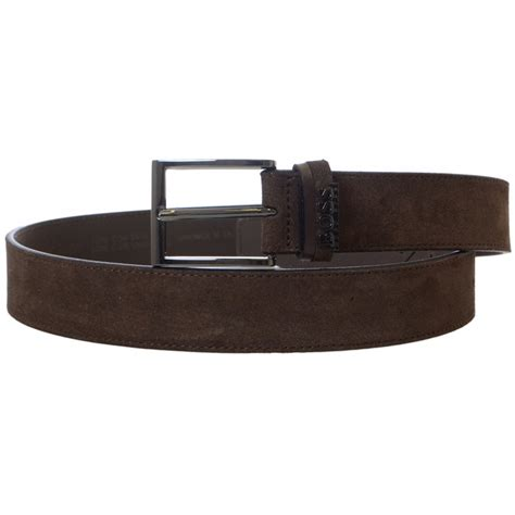 hugo black sabit suede leather brown belt hugo