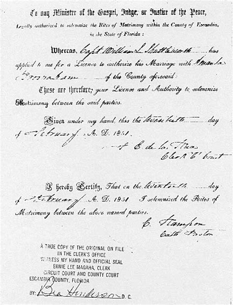 Pensacola Marriage Records Marriage Of William Louis Shuttleworth And Amanda Broshaham 1851