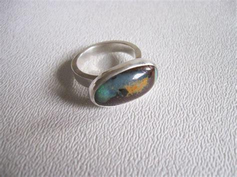 Australian Handmade Jewelry - boulder opal ring size 7 sterling silver australian