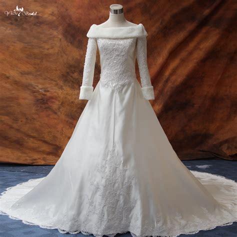 rsw long sleeve winter wedding dresses fur  wedding