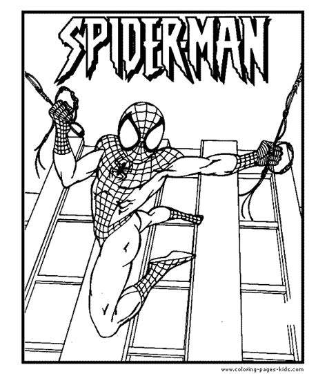 spider man color page cartoon color pages printable