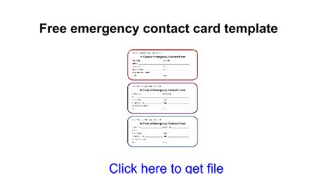 Emergency Card Template Free by Emergency Contact Card Template Image Collections