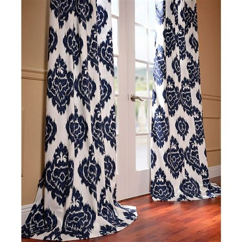 White Ikat Curtains Ikat Blue Printed Cotton Curtain Panel