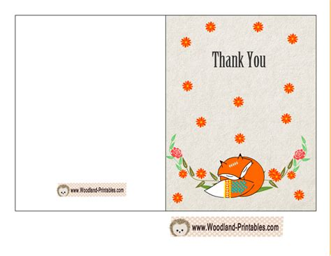 free printable thank you cards message cute fox thank you card free printable baby shower games