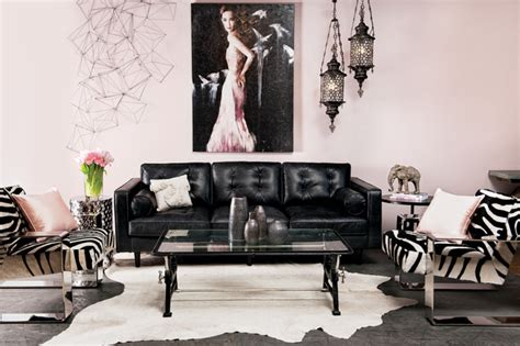 blush eclectic living room by high fashion home