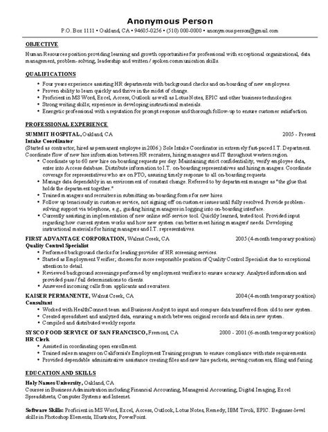 Entry Level Human Resources Resume by Hr Resume Exle Sle Human Resources Resumes