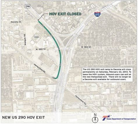 houston hov map us 290 hov exit at dacoma to permanently