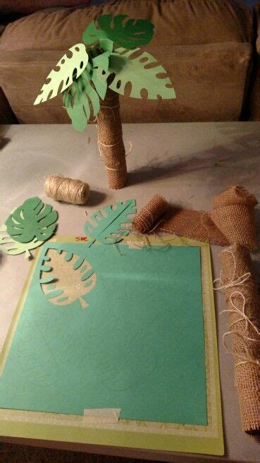 rolled paper palm trees palm trees made from paper towel rolls using burlap twine and quot quot cricut cartridge cakes