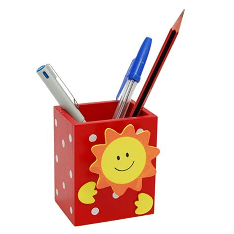 Buy Desk Accessories Wholesale Smile Sun Wooden Pencil Pen Holder With Memo Clip Desk Accessories Organizer