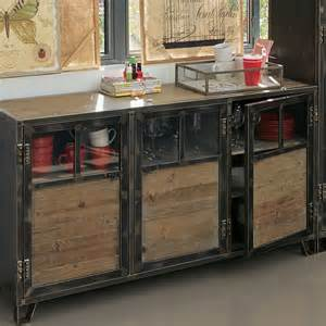 ware buffet 3 portes en pin acier et verre contemporain