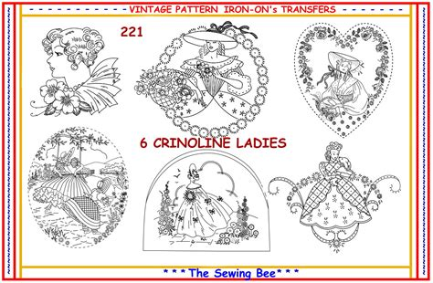 Embroidery Design Transfer | 221 6 new crinoline lady embroidery iron on transfer