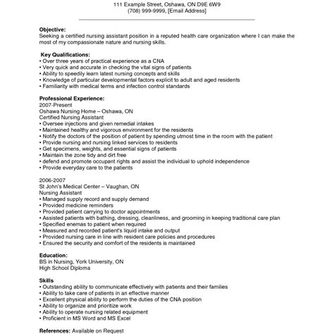 Nursing Assistant Resume by Certified Assistant Resume Sle Build Free Best