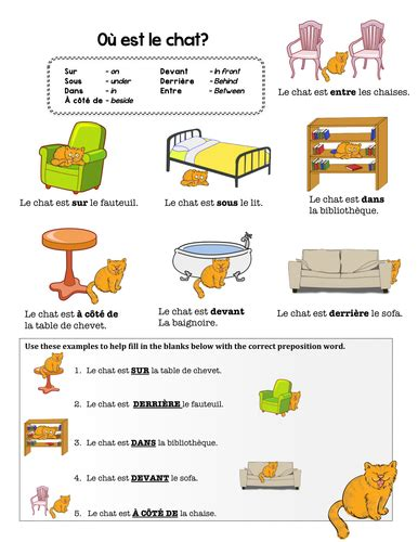 Bedroom Furniture Reviews french preposition practice by chezgalamb teaching
