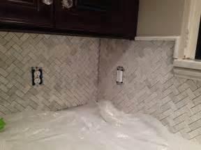 kitchen herringbone marble backsplash installation a