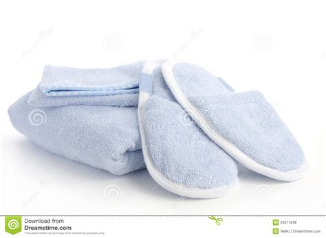 towel slippers blue slippers towel and bath shower mitt royalty free