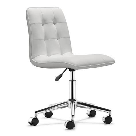 White Modern Desk Chair Shop Zuo Modern Scout White Faux Leather Task Office Chair At Lowes