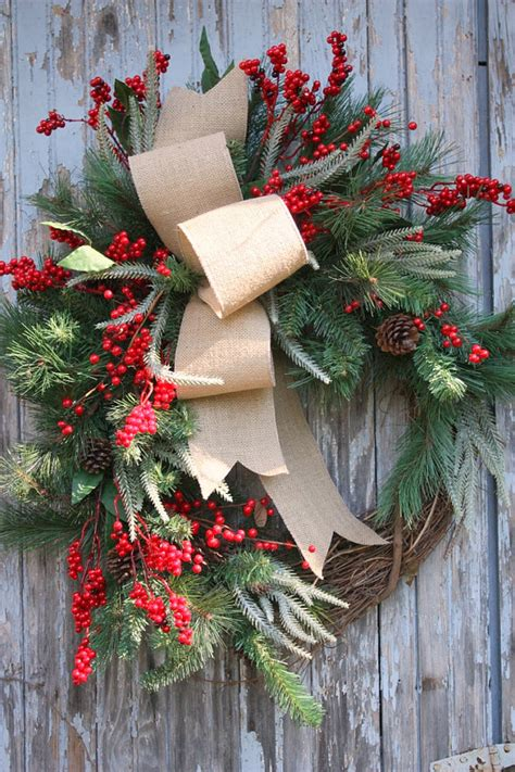 christmas wreath burlap pine red berries by