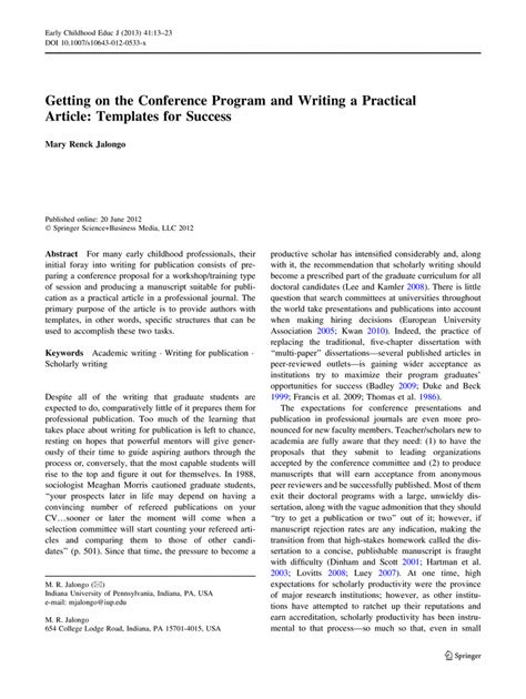 template for springer journals getting on the conference program and writing a practical