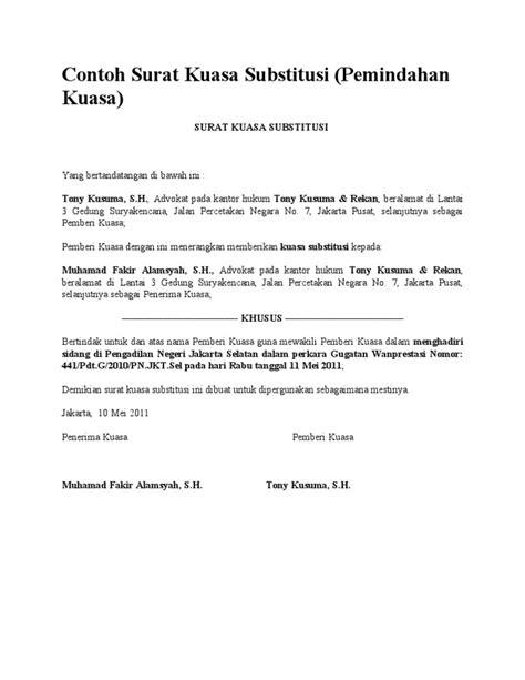 format surat kuasa doc contoh surat kuasa substitusi