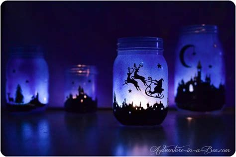magical christmas lanterns town silhouette printable