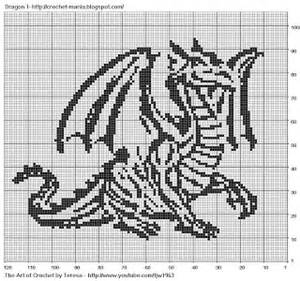 Free filet crochet charts and patterns filet crochet dragon 1
