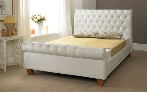 White Leather Sleigh Bed Frame White Leather Sleigh Bed Frame White Sleigh Bed Frame Leather Bed Frames Beds Bedroom