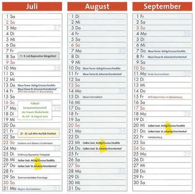 Kalender 2018 Juli August Kanzer Kalender 2017 St Johannis Bayreuth