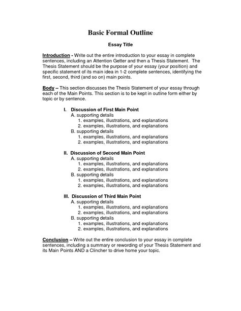 formal outline template best photos of formal introduction paper exle