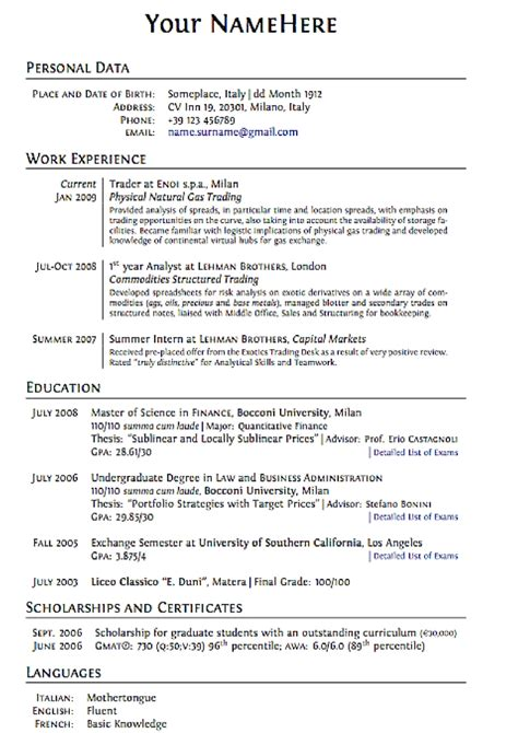 exles of resumes format to writing a cv 2016